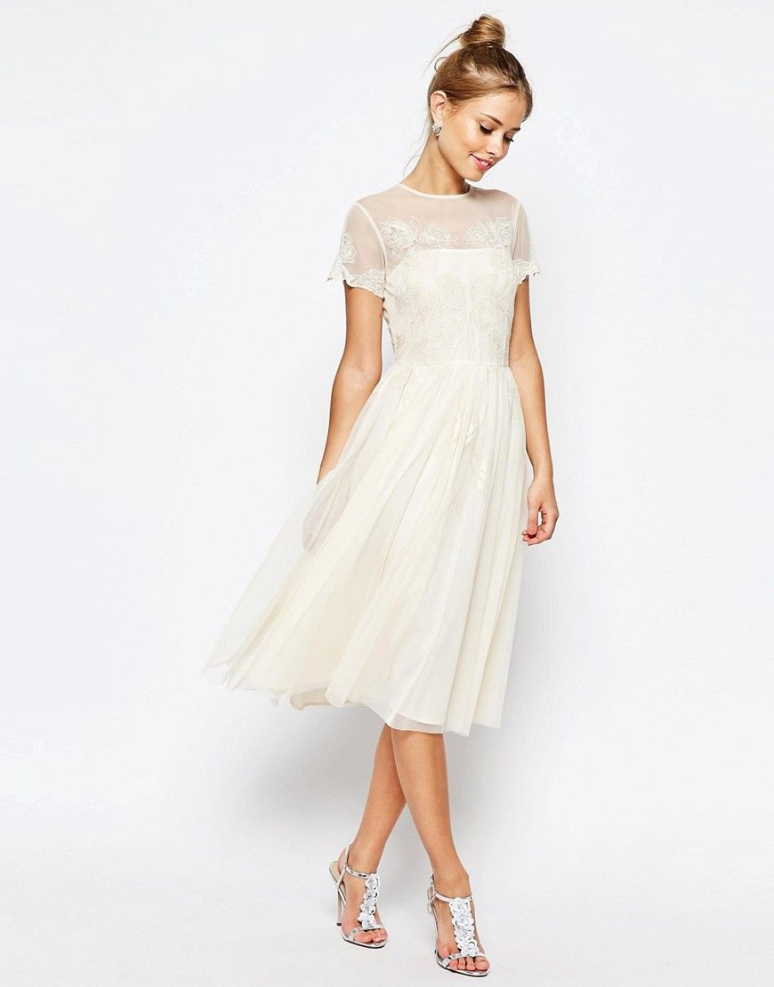 a323dddafd Image 1 of ASOS SALON Lace Applique Mesh Midi Skater Dress