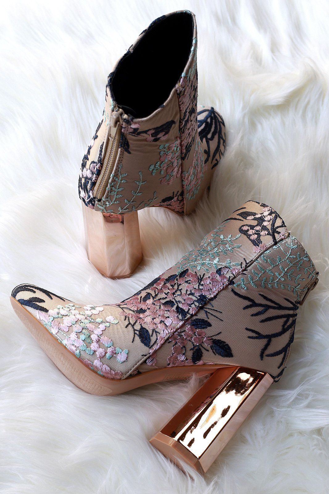 8fe6bab4c264 Embroidery Floral Vines Octagon Heeled Booties
