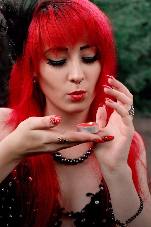 goth #gothic #plugs #piercing #red hair #red lips #long nails #red ...