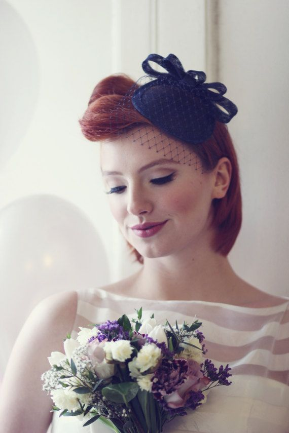 29ba9eed5ff8a  Navy  vintage  inspired  cocktail  hat  fascinator with  veil  millinery   wedding  accessory  small  hat  occasion  headwear  uk  madeinuk  hollyyoung