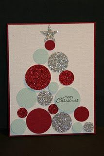 paper circle homemade christmas card card from glittered paper made from 7002