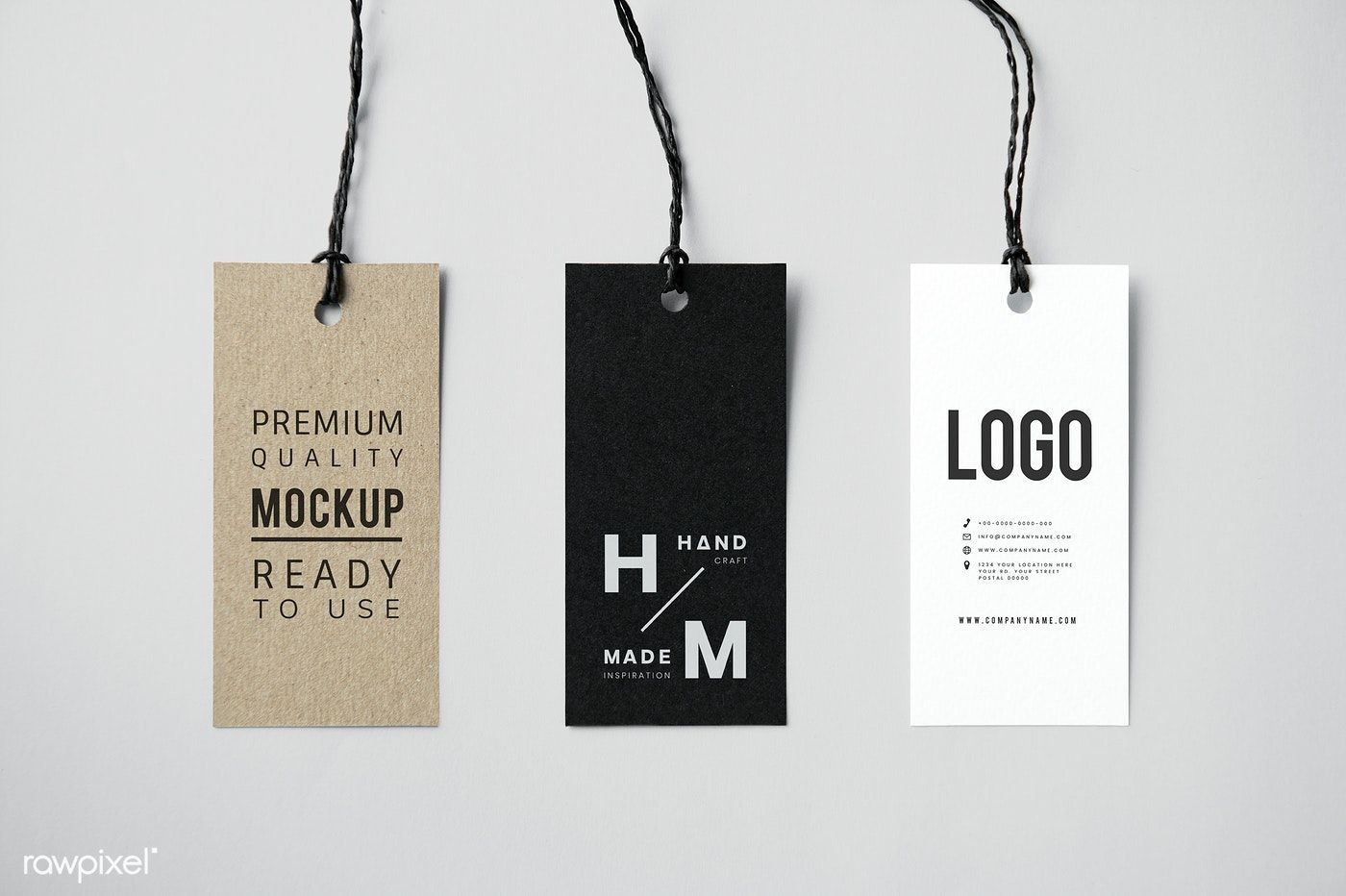 Download premium psd of Three fashion label tag mockups 12