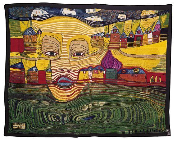 IRINALAND OVER THE BALKANS  IRINALAND ÜBER DEM BALKAN tapestry by Hundertwasser