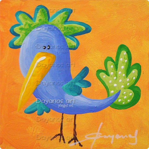Paintings of Birds, Blue Bird, Art for Nursery, Unique Baby Gifts - new certificate of authenticity painting