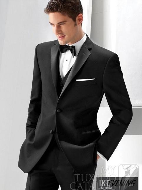 Custom Center Vent Two Buttons Black Groom Tuxedos Best Man Peak ...