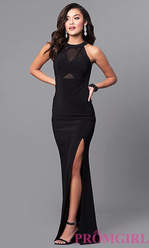 black sheer prom dresses