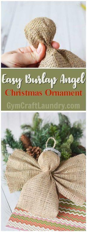 Easy Homemade Christmas Craft. Make this adorable burlap angel ornament! #diyangels #Christmasangels #angelornaments