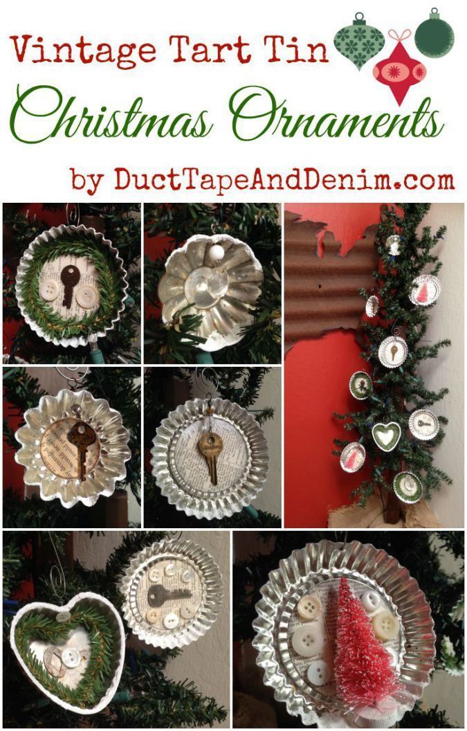 How To Make Vintage Tart Tin Christmas Ornaments Christmas Ornaments Christmas Ornament Crafts Thrift Store Crafts