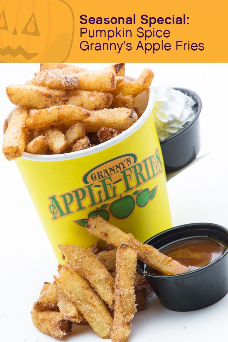 SEASONAL TREAT: Granny's Apple Fries now taste like fall! Try our pumpkin spice apple fries, starting October 2nd. #BrickorTreat #LEGOLANDFlorida #Halloween