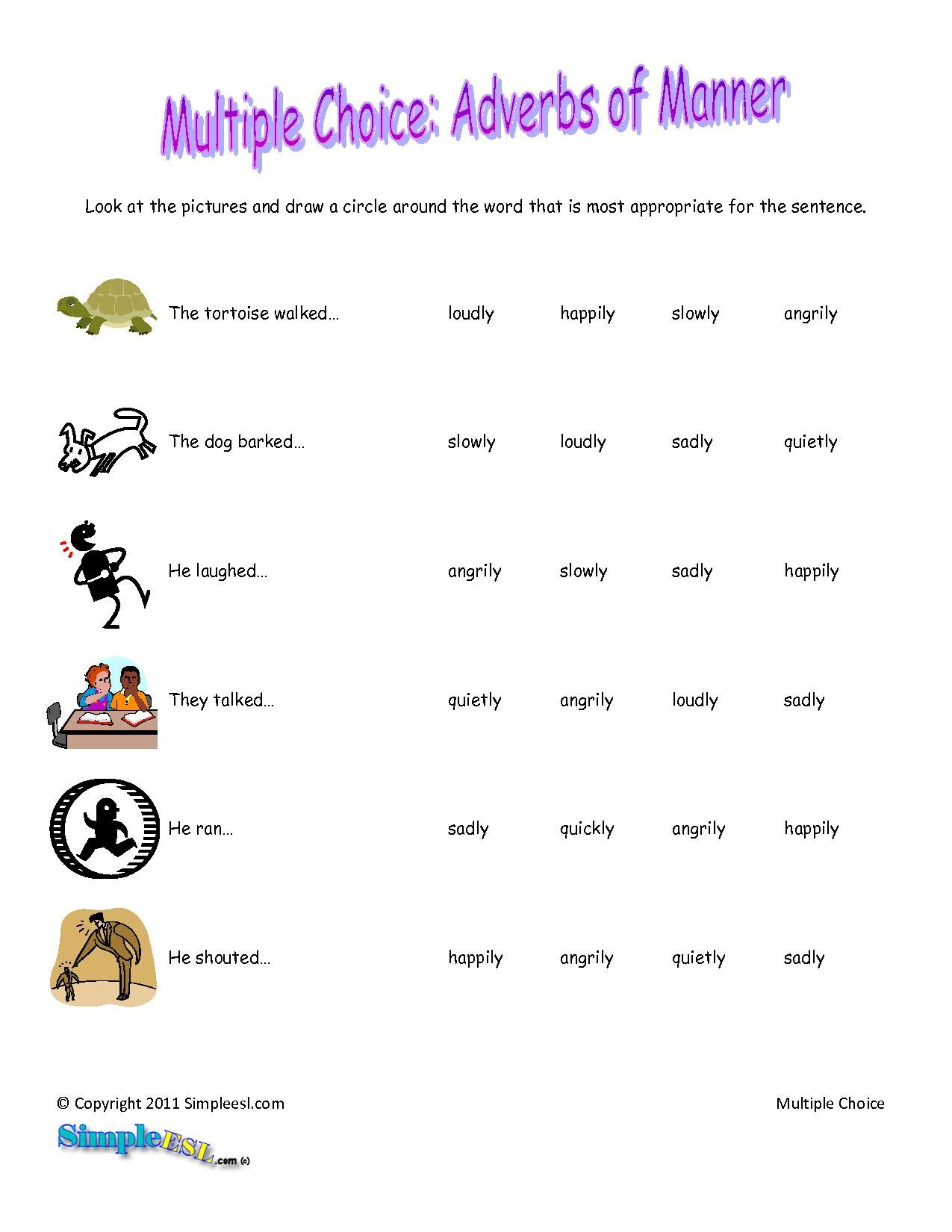 Adverbs Of Manner Worksheet Grade 2