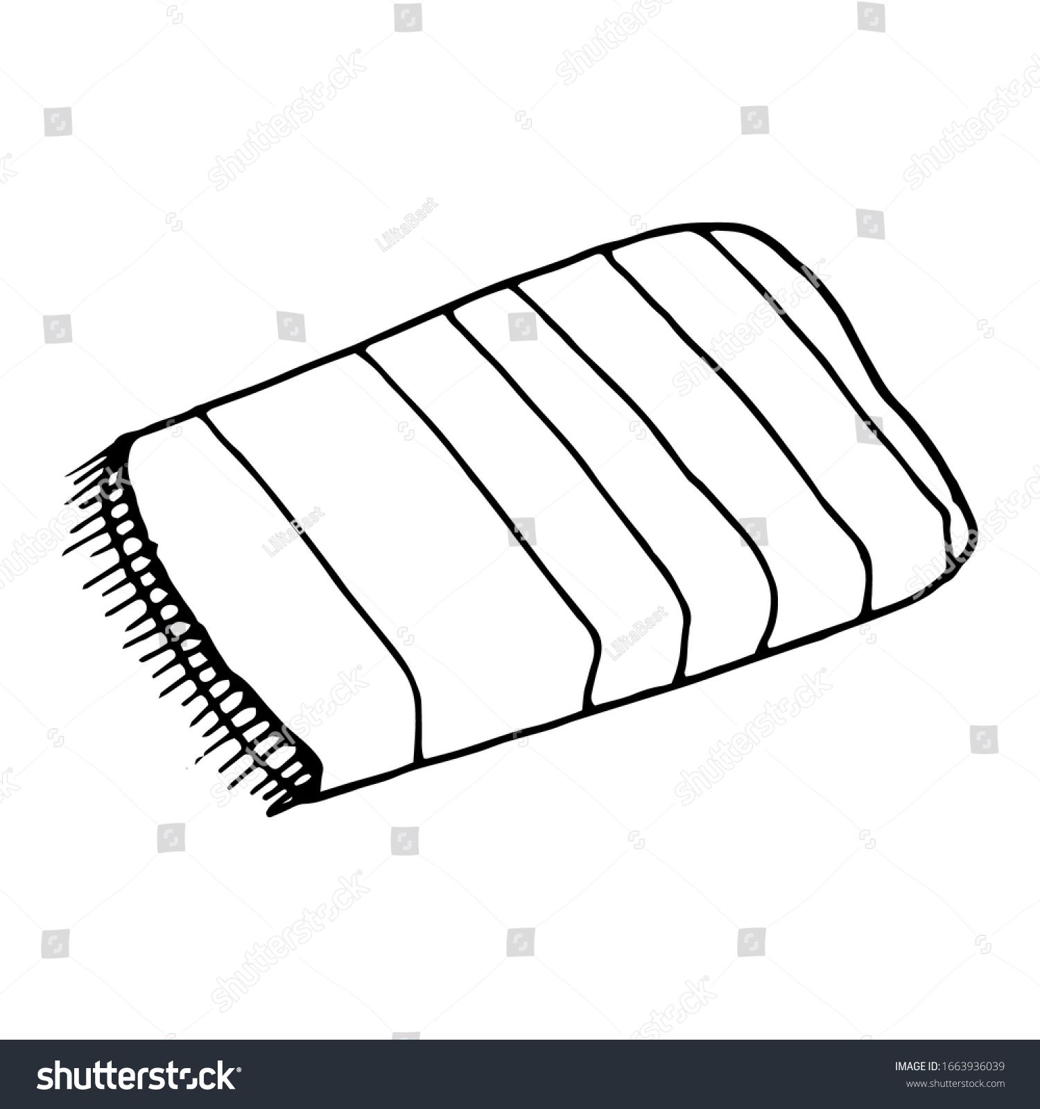 Towel Cartoon Vector And Illustration Black And White Hand Drawn Sketch Style Isolated On White Background A Cartoons Vector Black And White Illustration