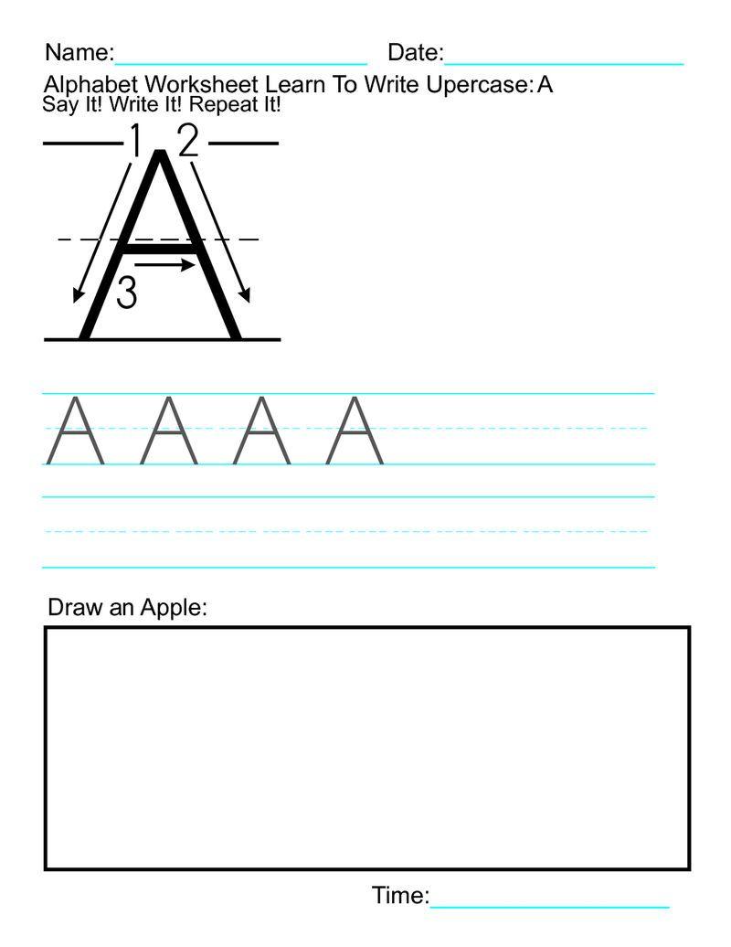 Capital Letter Worksheets Apple Dengan Gambar