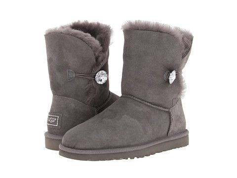 Winter Boots: One Button Ankle UGG Grey Boots, Women's