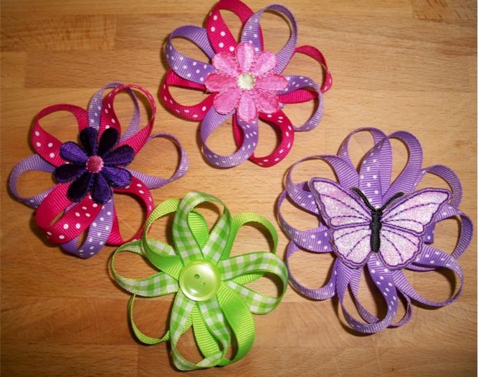 How to Make Ribbon Flower Hair Bows…