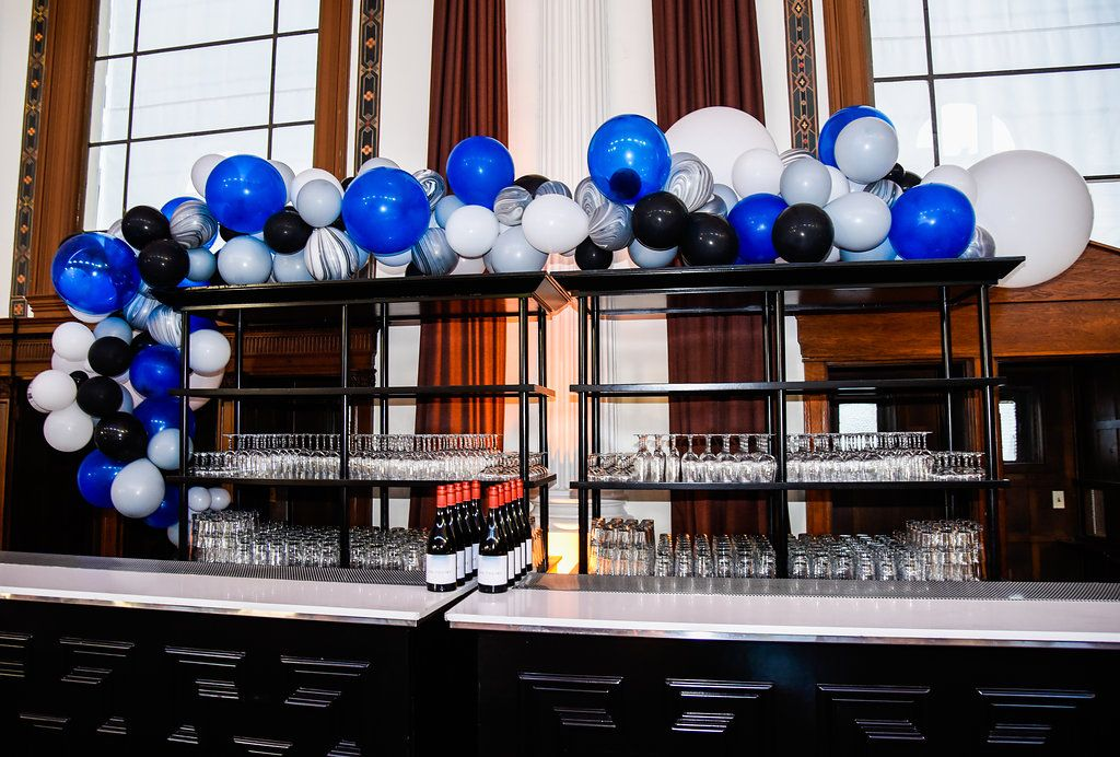White Blue Black And Marble Balloon Garland Black Party