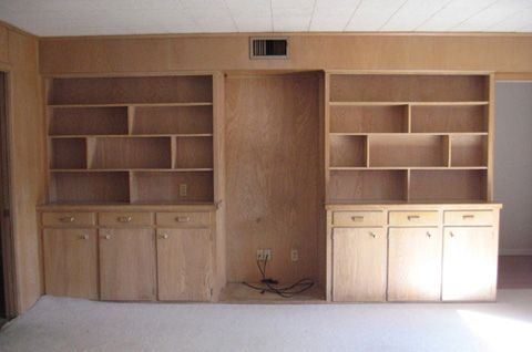 Modern Built In Bookshelves before: the built-in bookcase is great storage and adds some