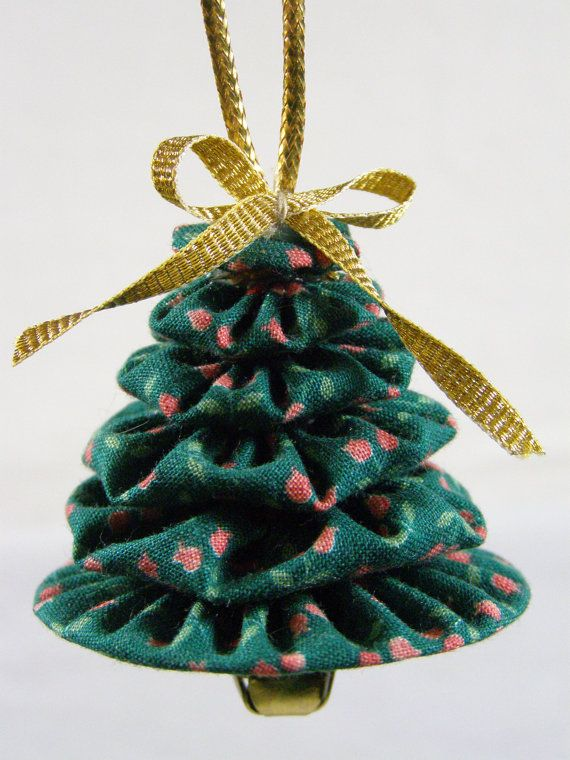 Christmas Tree Yo Yo ornaments set of 3 Teal calico prints Yo yo