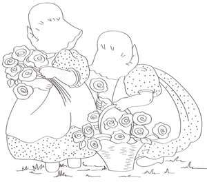 Gathering Flowers Embroidery Pattern Art Line Drawings