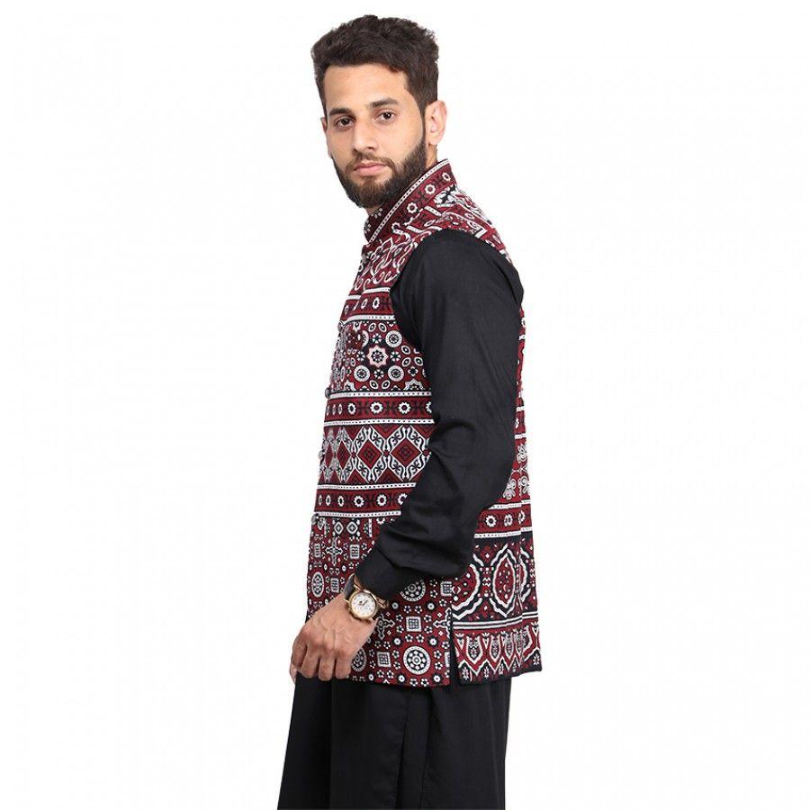 a4898ce9b Kamaal Khan Ajrak WaistCoat For Men - KK-36-3   Waist Coats Online ...