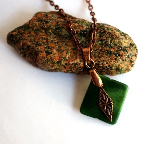 Green Glass Necklace Copper Charm Reclaimed Tumbled by Hendywood