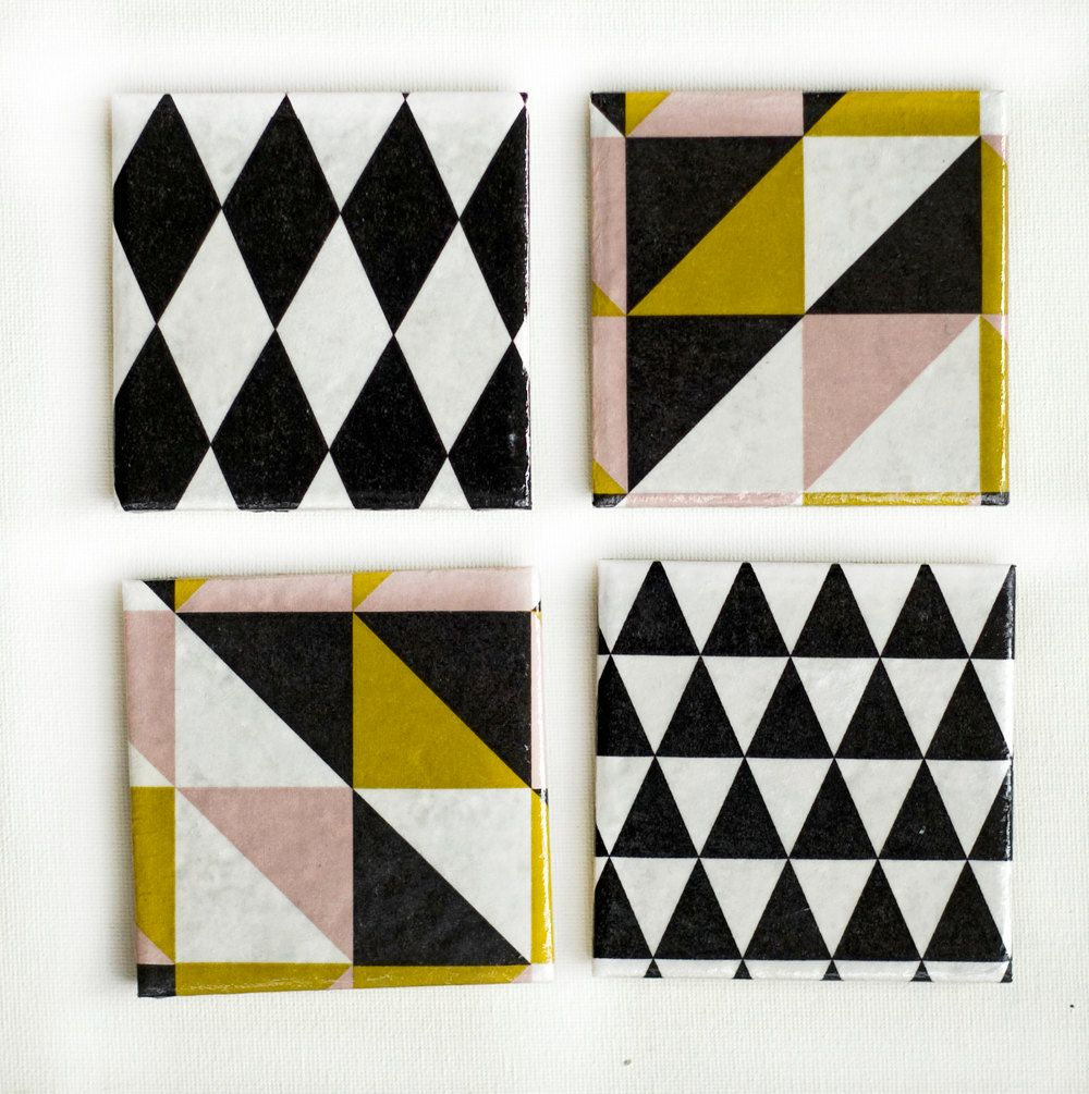 Geometry coasters triangle and harlequin ceramic coasters set of geometry coasters triangle and harlequin ceramic coasters set of 4 delightful retro modern geometric pattern of this set of handmade ceramic tile dailygadgetfo Image collections