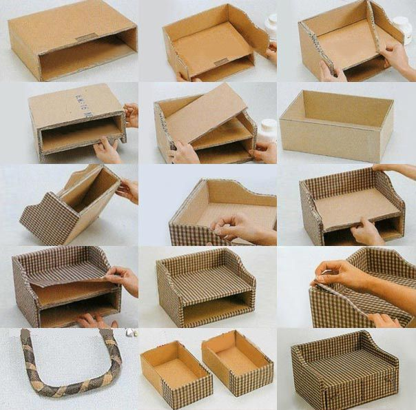 Cardboard Storage Box Decorative Diy Storage Box Out Of Old Cardboard And Fabric  Diy  Pinterest
