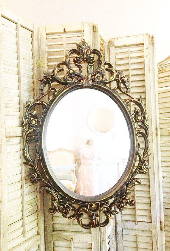 Bathroom Mirror Gold baroque mirror, shabby chic mirror, ornate oval mirror, large wall
