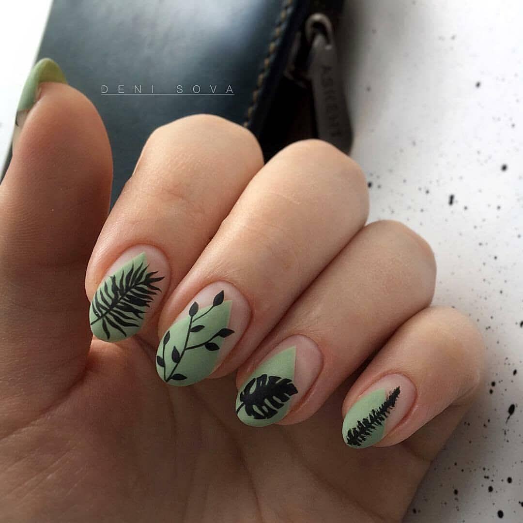 Акриловые ногти естественный стиль, Маникюр, Зеленые ногти