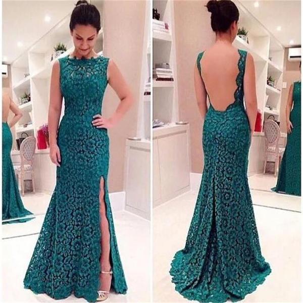 8c7f279104ef Teal Lace Backless Side Slit Formal Fashion Prom Dress
