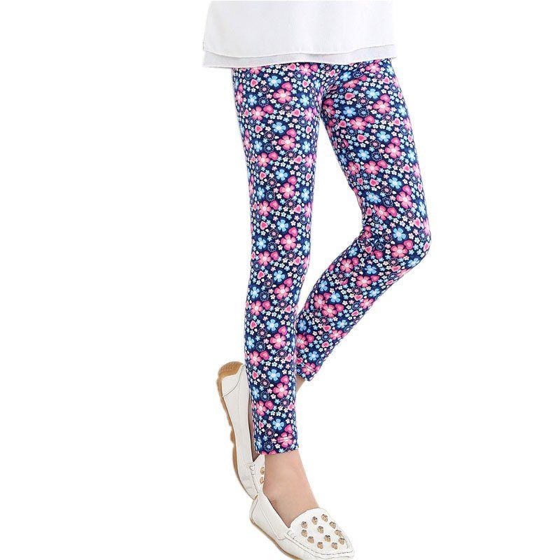 Najnowsze Dziecko Dzieci Dziewczyny Legginsy Spodnie Kwiat Floral Wydrukowano Dlugie Spodnie Elasty Girls In Leggings Leggings Are Not Pants Fun Print Leggings