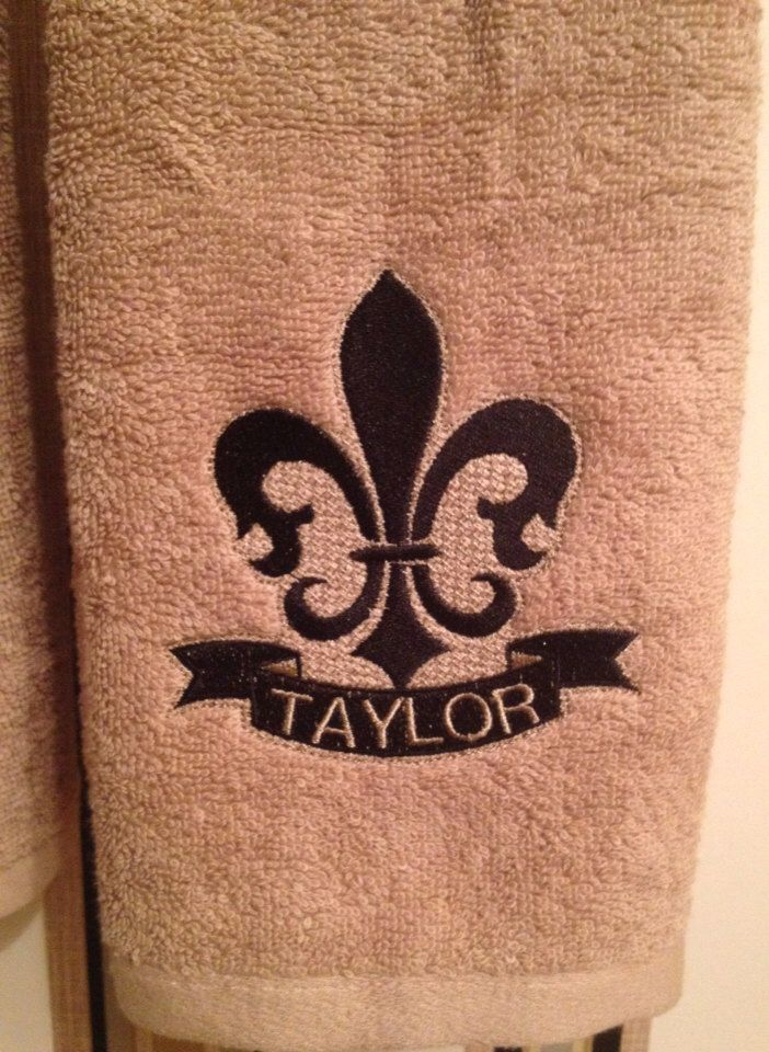 Embroidered Fleur De Lis Hand Towels Monogrammed Embossed And
