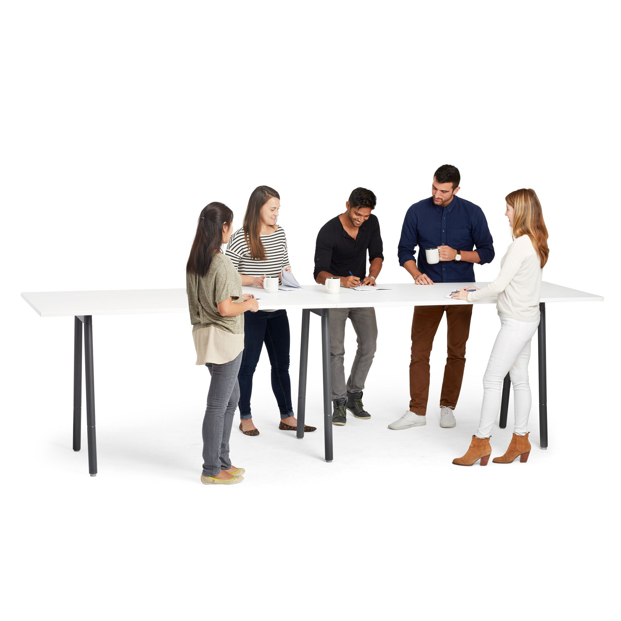 Series A Standing Meeting Table Charcoal Legs Modern Office Furniture Poppin Meeting Table Office Furniture Modern Render People