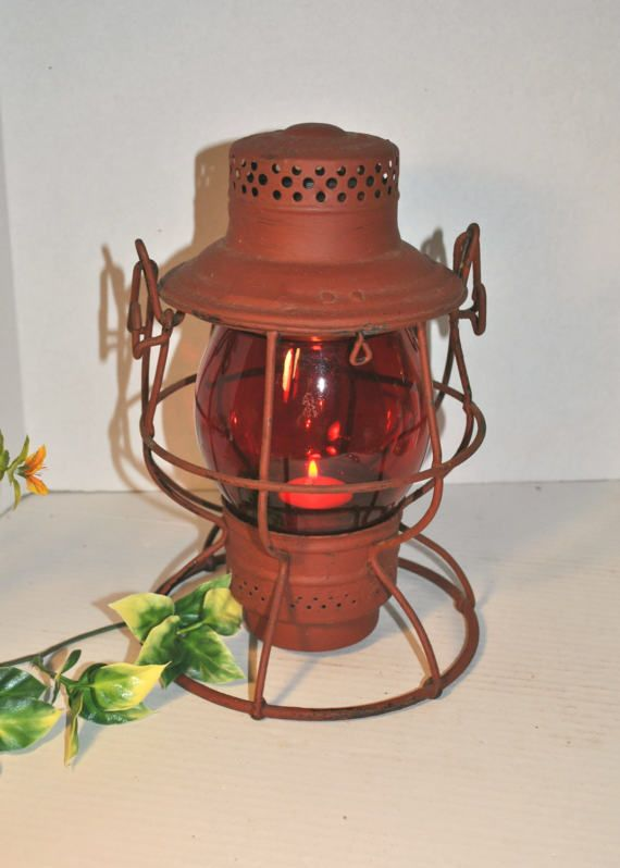 Vintage Railroad Train Lantern Oil Lamp By Purpose4everything Small Votive Candles Railroad Lanterns Glass Votive Holders