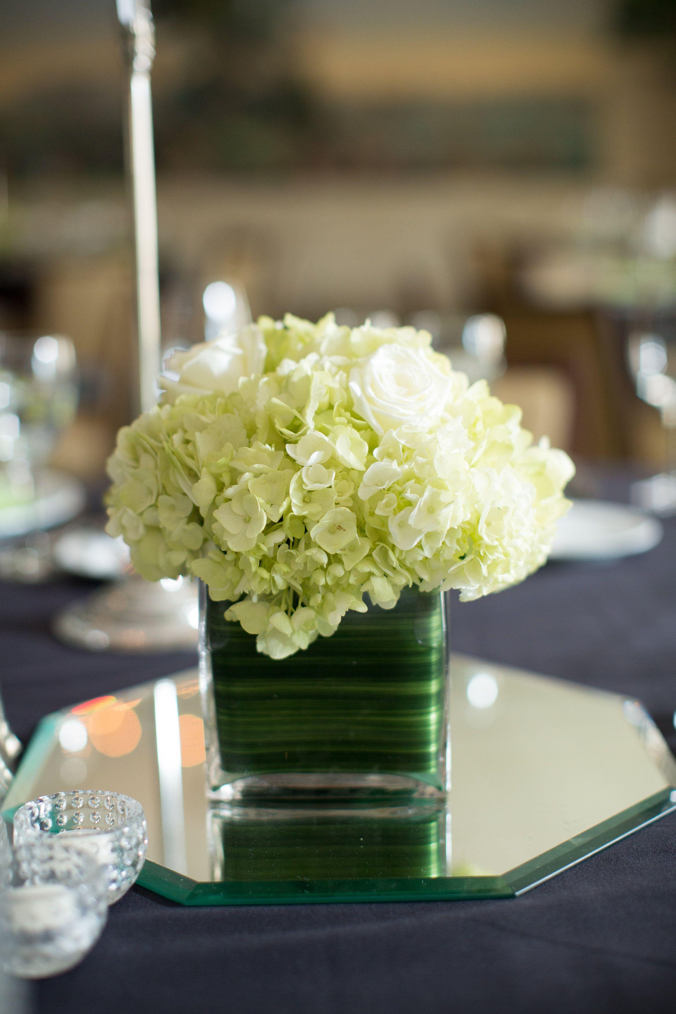 Lime Green Accents Wedding Centerpiece Floral Centerpiece Hydrangea