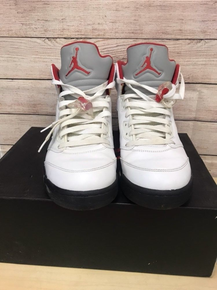 buy popular 1aa60 14b9d ... coupon for nike mens sz 10 air jordan 5 retro white red and grey  fashion 3f997