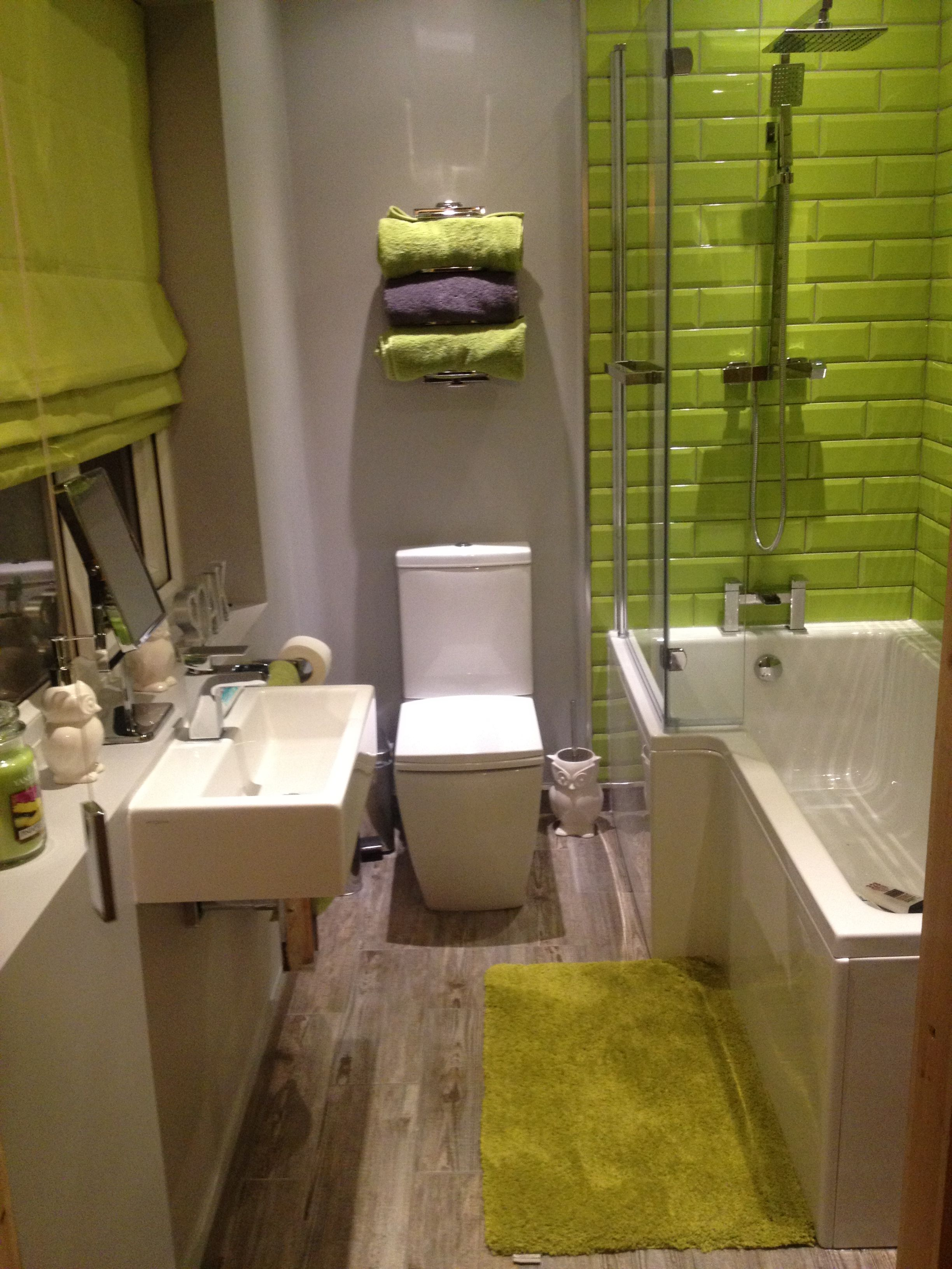 lime green and grey bathroom decor