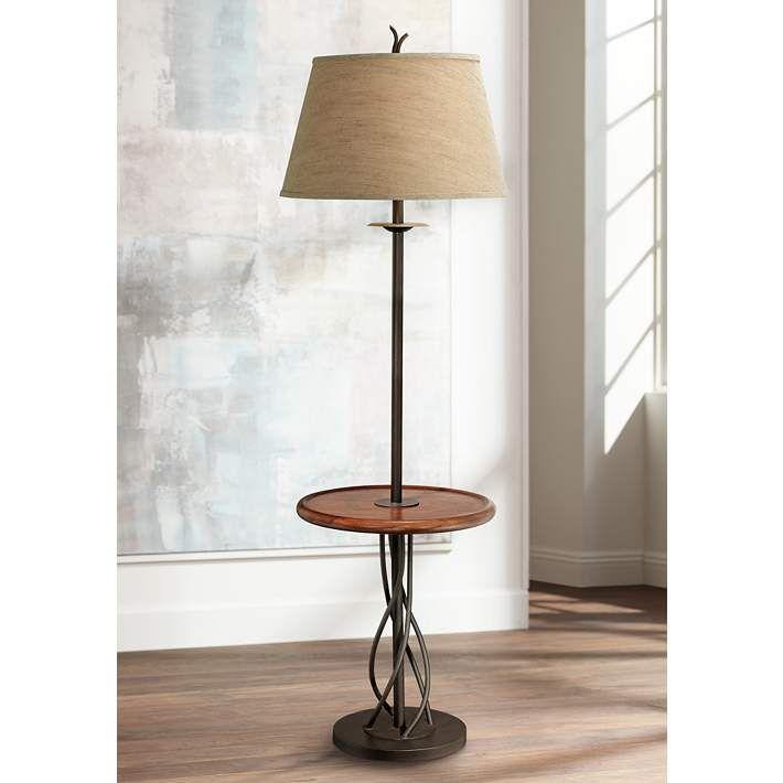 Iron Twist Base Wood Tray Table Floor Lamp N5774 Lamps Plus Floor Lamp Table Floor Lamp