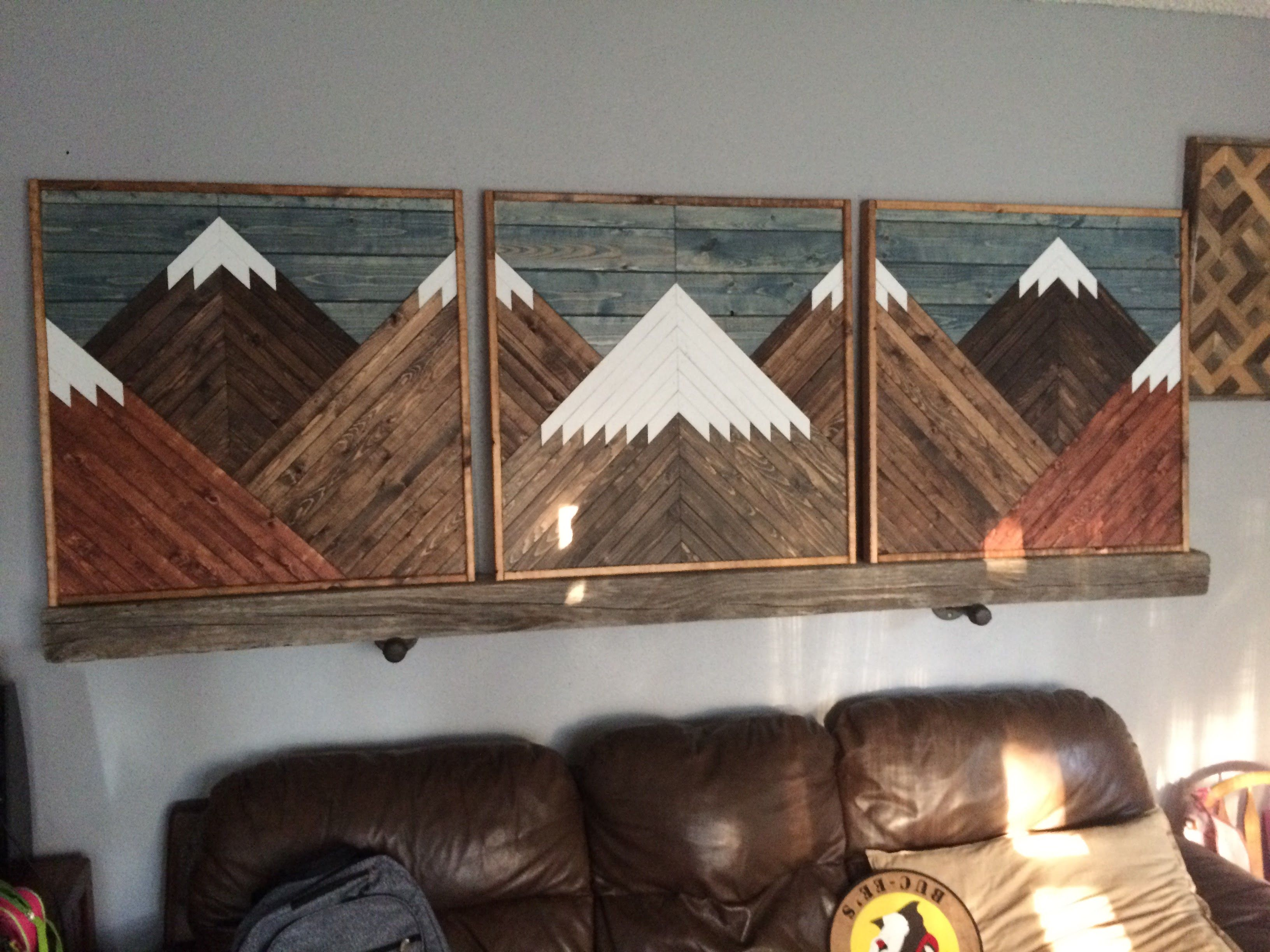 Large Scenic Dark Stained Mountain 3 Piece Wall Art Set With Blue Stained Sky Pallet Wall Art Wood Home Decor Decor