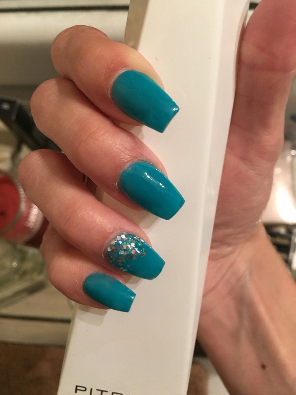 Teal Coffin Nails With Silver Accents Nails Coffin Nails Coffin