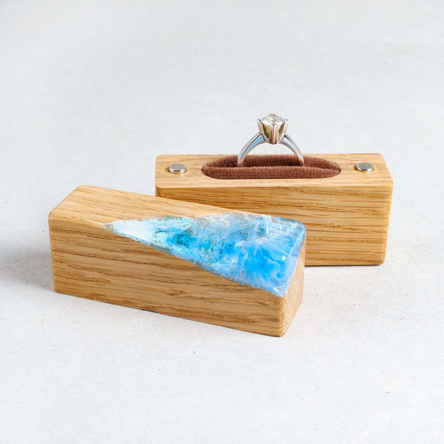 ring box blue sky. slim engagement ring box. unique wood and