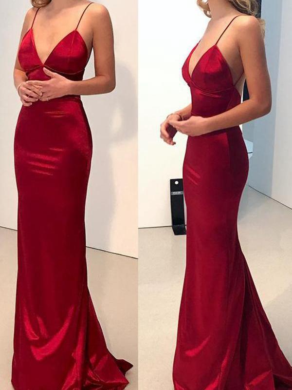 00cfad41953 Red Spaghetti Strap Bodycon Evening Party Maxi Dress in 2019