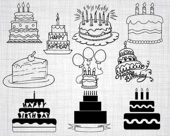 Birthday Cake Svg Bundle Birthday Cake Svg Birthday Cake Clipart