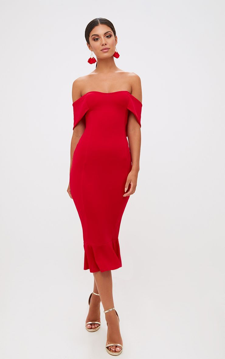 b3c1742f80 Red Bardot Frill Hem Midi Dress. Dresses