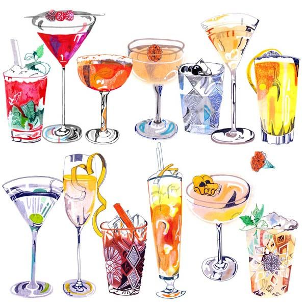 #Cocktails - #Illustration / #Drawings for #NUAgency´s #exhibition Noll Två at #restaurant #Pontus! © #HennieHaworth #2012 #Artwork #EclecticExpression