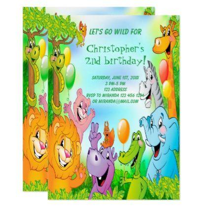 Safari Jungle Birthday Party Invitation Card Kids Kids Stuff
