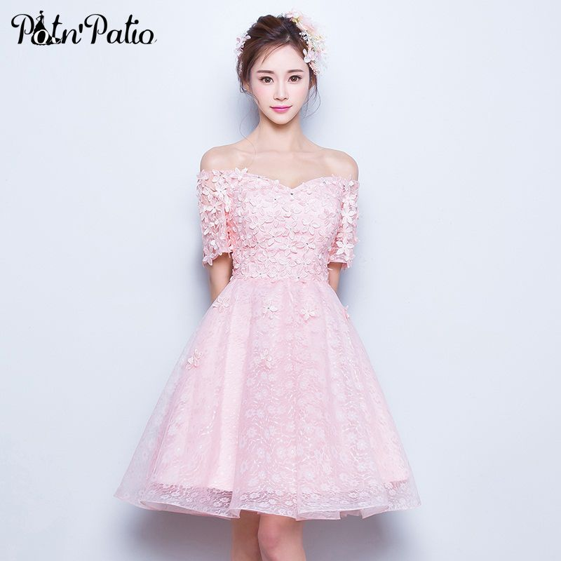 PotN\'Patio Boat Neck Lace Prom Dresses Short 2017 Summar Flower Pink ...