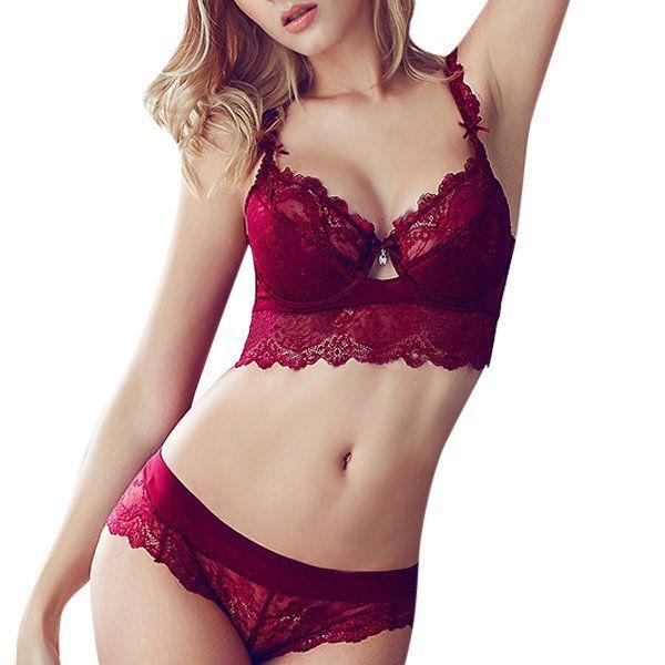 fdd952932fd8 Sexy Floral Lace Ultra-thin Adjustment Gather Push Up Bra Panties Set