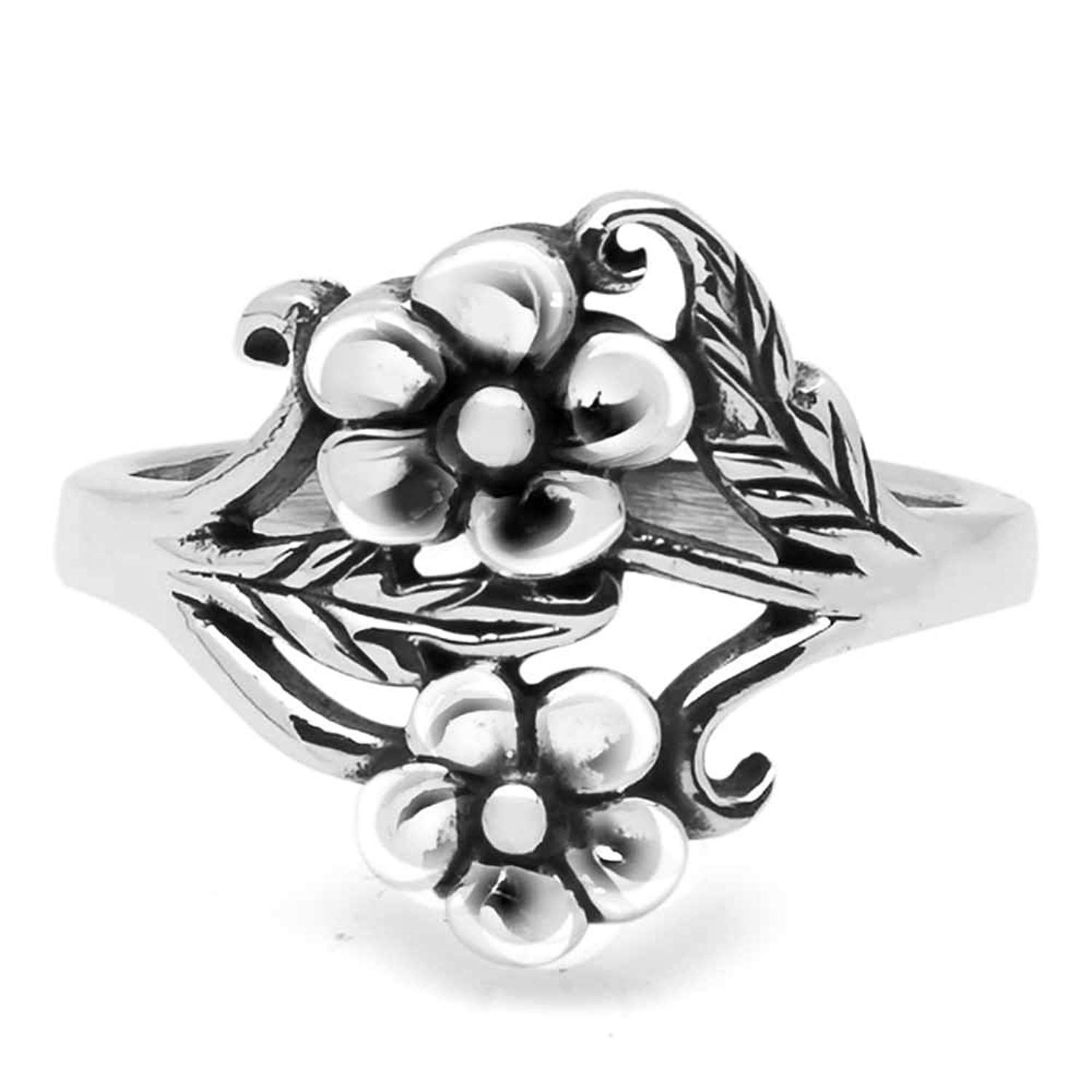 925 Oxidized Sterling Silver Vintage Detailed Flower with