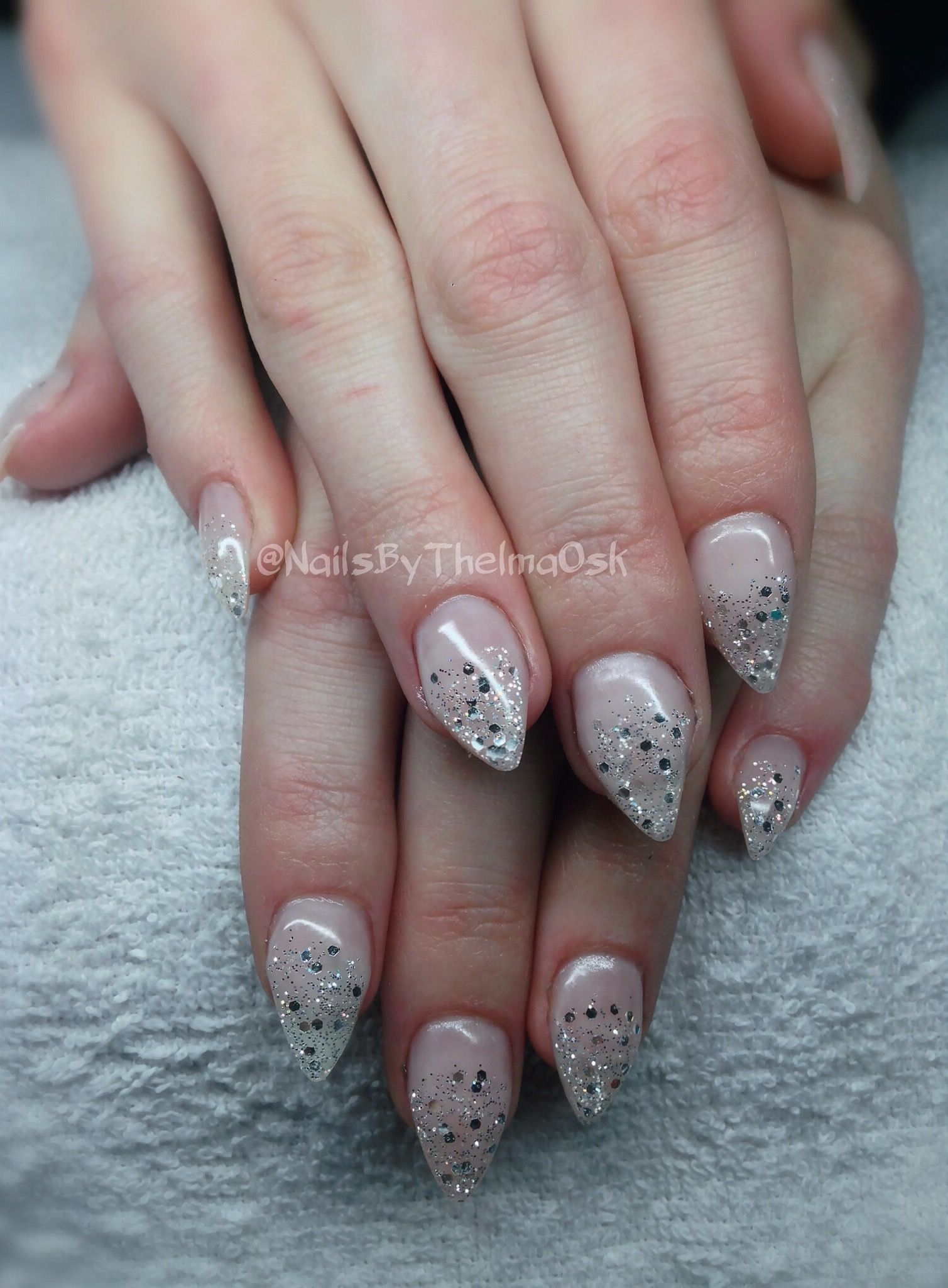 Gorgeous glitter fade out with diamond effect. Stiletto almond gel ...