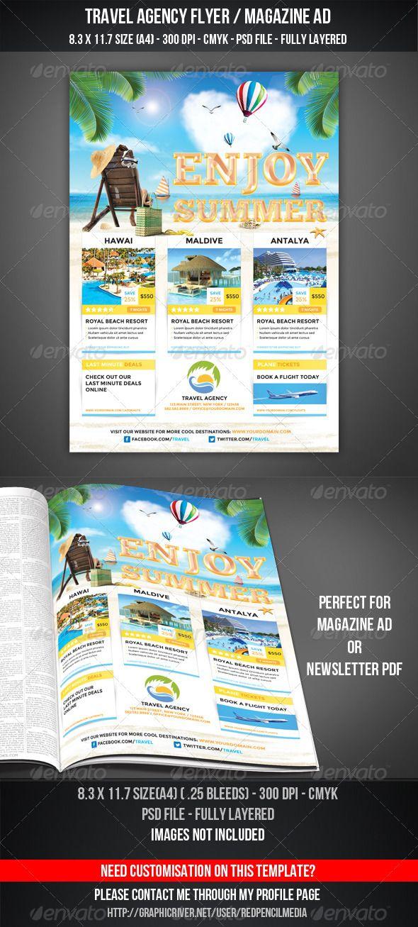 Travel Agency Flyer / Magazine Ad Print templates Travel agency
